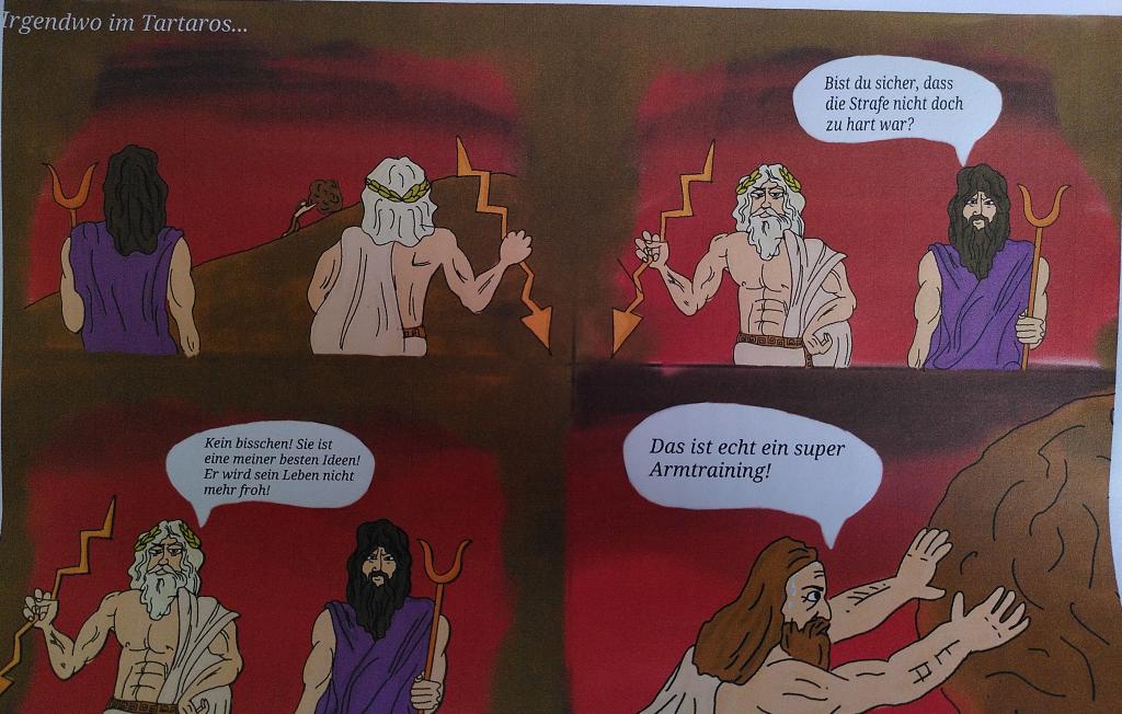 Comic zum Sysiphos-Mythos von Albert Camus, gezeichnet von Lisa Anacker