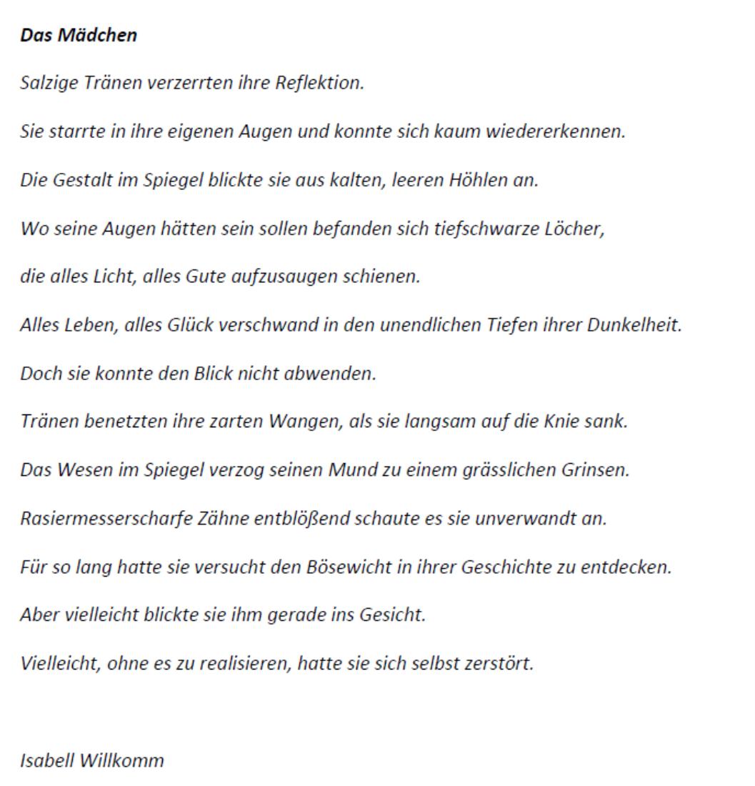 Isabell Willkomm Gedicht zum Thema Der Mensch zwischen gut und böse