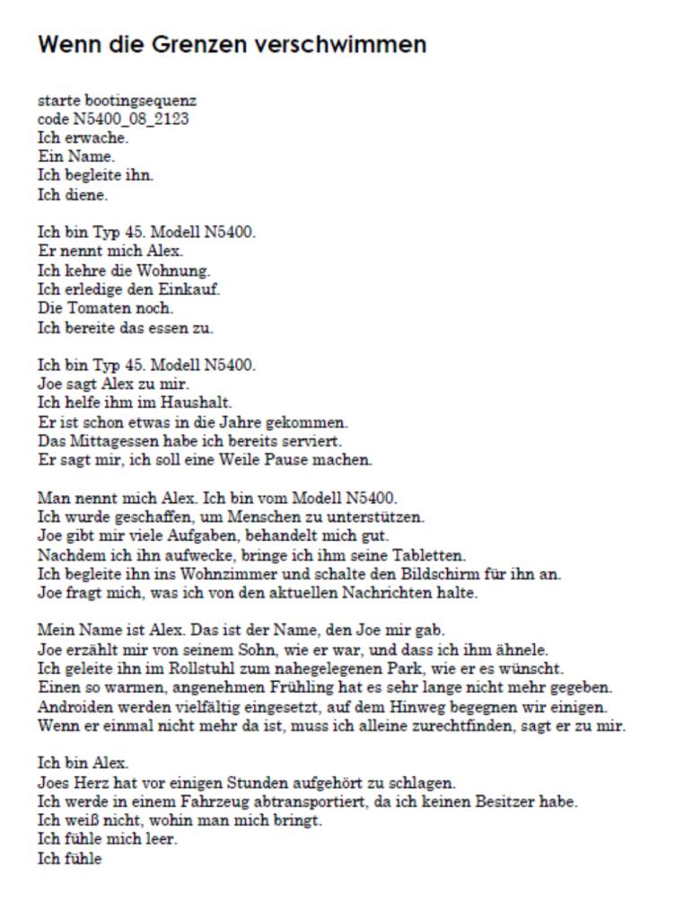 Lara Fiegler Gedicht zum Thema Künstlicher Intelligenz