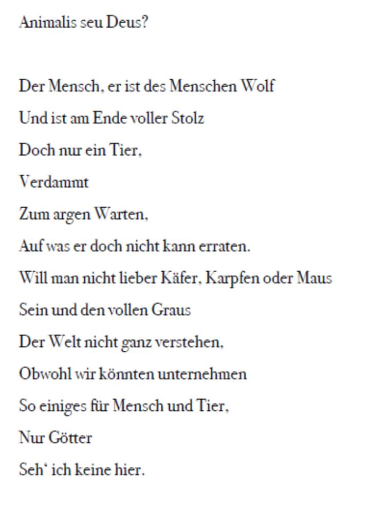 Leonie Mückley Gedicht zum Thema Der Mensch zwischen Tier und Gottheit